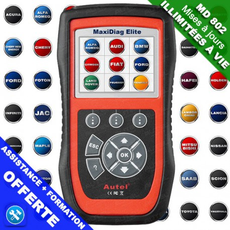 MaxiDiag MD802 Pro Elite tous systèmes + reset vidange + EPB
